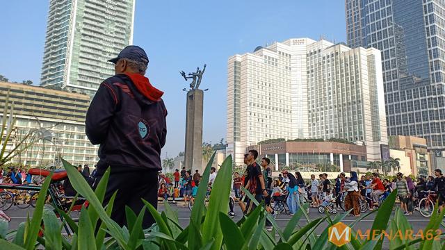 Suasana Car Free Day (CFD) Jakarta, Ahad pagi (26/1/2020). Warga Antusias berolahraga seperti biasa setelah sehari sebelumnya Jakarta diguyur hujan sepanjang hari.